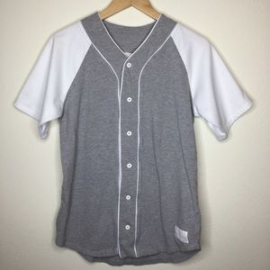 On The Byas Small Gray White Baseball Jersey Shirt